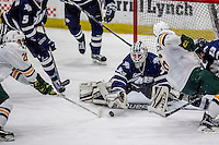 10 February 2017: University of New Hampshire Wildcat Goaltender Danny Tirone, a Junior from Trumbull, CT, in third period action against the University of Vermont Catamounts at Gutterson Fieldhouse in Burlington, Vermont. The Wildcats came from behind to defeat the Catamounts 4-2 in the first game of their 2-game Hockey East Series. Mandatory Credit: Ed Wolfstein Photo *** RAW (NEF) Image File Available ***