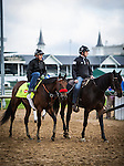 LOUISVILLE, KY - MAY 05: Nyqvist, with exercise rider Jonny Garcia is lead off the track by assistant trainer Jack Sisterson after completing final preparations for the Kentucky Derby at Churchill Downs on May 05, 2016 in Louisville, Kentucky.(Photo by Alex Evers/Eclipse Sportswire/Getty Images)