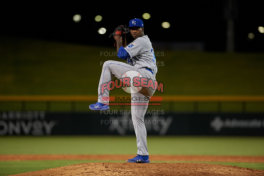 AZL Royals relief pitcher Adriam Castillo (34) during an Arizona League game against the AZL Cubs 1 on June 30, 2019 at Sloan Park in Mesa, Arizona. AZL Royals defeated the AZL Cubs 1 9-5. (Zachary Lucy/Four Seam Images)