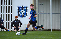 Kaeden Atkins during the Central League football match between Miramar Rangers and Lower Hutt AFC at David Farrington Park in Wellington, New Zealand on Saturday, 10 April 2021. Photo: Dave Lintott / lintottphoto.co.nz