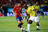 Pedro Rodriguez of Spain competes for the ball with Pablo Armero of Colombia  during the friendly match between Spain and Colombia at Nueva Condomina Stadium in Murcia, jun 07, 2017. Spain. (ALTERPHOTOS/Rodrigo Jimenez) (NortePhoto.com) (NortePhoto.com)