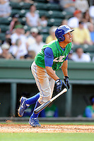 Third baseman Michael Antonio (22) of the Lexington Legends bats in a game against the Greenville Drive on Sunday, April 27, 2014, at Fluor Field at the West End in Greenville, South Carolina. Greenville won, 21-6. (Tom Priddy/Four Seam Images)