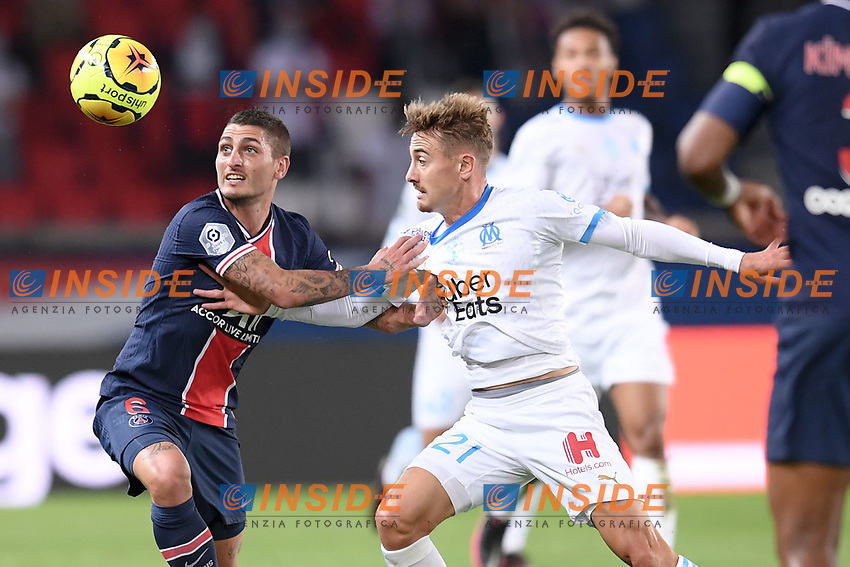 06 MARCO VERRATTI (PSG) - 21 VALENTIN RONGIER (OM)<br /> 13/09/2020<br /> Paris Saint Germain PSG vs Olympique Marseille OM <br /> Calcio Ligue 1 2020/2021  <br /> Foto Philippe Lecoeur Panoramic/insidefoto <br /> ITALY ONLY