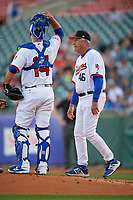 Buffalo Bisons pitching coach Bob Stanley (46) walks to the mound for a meeting during a game against the Syracuse Chiefs on June 30, 2017 at Coca-Cola Field in Buffalo, New York.  Syracuse defeated Buffalo 8-1.  (Mike Janes/Four Seam Images)