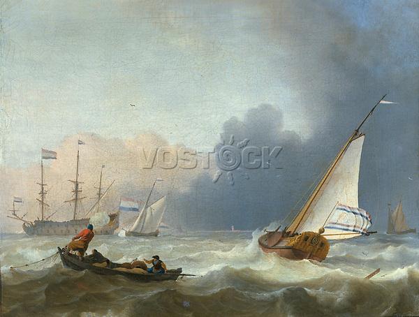 Choppy sea with Dutch yacht under sail - by Ludolf Bakhuysen, 1694