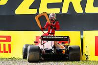 16th April 2021; Autodromo Enzo and Dino Ferrari, Imola, Italy; F1 Grand Prix of Emilia Romagna, Free Practise sessions;  LECLERC Charles (mco), Scuderia Ferrari SF21 crashes into the wall