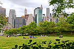 Harbor View Lawn at Brooklyn Bridge Park with a view of lower Manhattan