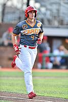 Johnson City Cardinals third baseman Nolan Gorman (4) walks to first base during a game against the Pulaski Yankees at TVA Credit Union Ballpark on July 7, 2018 in Johnson City, Tennessee. The Cardinals defeated the Yankees 7-3. (Tony Farlow/Four Seam Images)