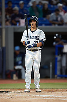Anthony Seigler (20) of the Hudson Valley Renegades prepares to take his turn at bat during the game against the Wilmington Blue Rocks at Dutchess Stadium on July 27, 2021 in Wappingers Falls, New York. (Brian Westerholt/Four Seam Images)