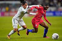 CARSON, CA - FEBRUARY 7: Diana Evangelista #17 of Mexico marks Crystal Dunn #19 of the United States during a game between Mexico and USWNT at Dignity Health Sports Park on February 7, 2020 in Carson, California.