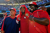 23 September 2007: Washington Nationals first baseman Dmitri Young (right) stands with outfielder Wily Mo Pena (center) and pitcher Chad Cordero (left) await a post-game jersey ceremony commemorating the last professional baseball game played at Robert F. Kennedy Memorial Stadium in Washington, DC. The Nationals defeated the visiting Philadelphia Phillies 5-3 to close out the 2007 season at RFK Stadium.. .Mandatory Photo Credit: Ed Wolfstein Photo