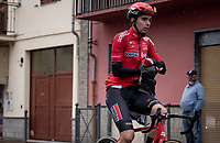 Kobe Goossens (BEL/Lotto Soudal) getting his rain jacket on while passing through the village of Borgo d'Ale<br /> <br /> 104th Giro d'Italia 2021 (2.UWT)<br /> Stage 3 from Biella to Canale (190km)<br /> <br /> ©kramon