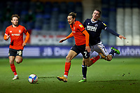 23rd February 2021; Kenilworth Road, Luton, Bedfordshire, England; English Football League Championship Football, Luton Town versus Millwall; Harry Cornick of Luton Town takes on Jed Wallace of Millwall