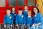 Principal Elizabeth Lane with the junior infants class  in Loughfouder NS Knocknagoshel on Wednesday l-r: Conor O'Callaghan,  Lauren Long, Jack O'Sullivan, Ava Cotter and Arthur Mierzyjewski