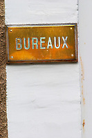 A brass sign at the door Bureaux indicating the office, Champagne Jacquesson in Dizy, Vallee de la Marne, Champagne, Marne, Ardennes, France