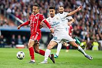 Real Madrid Marco Asensio and Bayern Munich Thiago Alcantara during Semi Finals UEFA Champions League match between Real Madrid and Bayern Munich at Santiago Bernabeu Stadium in Madrid, Spain. May 01, 2018.  *** Local Caption *** © pixathlon<br /> Contact: +49-40-22 63 02 60 , info@pixathlon.de