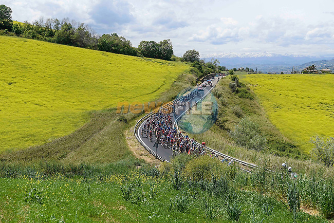 The peloton during Stage 7 of the 2021 Giro d'Italia, running 181km from Notaresco to Termoli, Italy. 14th May 2021.  <br /> Picture: LaPresse/Fabio Ferrari   Cyclefile<br /> <br /> All photos usage must carry mandatory copyright credit (© Cyclefile   LaPresse/Fabio Ferrari)