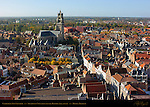 Cathedral Sint-Salvator, Southwest View from atop the Belfort Bell Tower, Bruges, Brugge, Belgium