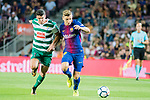 Lucas Digne of FC Barcelona (R) fights for the ball with Ander Capa Rodriguez of SD Eibar (L) during the La Liga 2017-18 match between FC Barcelona and SD Eibar at Camp Nou on 19 September 2017 in Barcelona, Spain. Photo by Vicens Gimenez / Power Sport Images