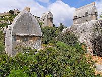 Lycian sarcophogii, Simena, Turkey