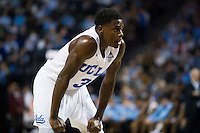 BROOKLYN, NY - Saturday December 19, 2015: Aaron Holiday (#3) of UCLA and his Bruins take on the North Carolina Tar Heels in the CBS Classic at Barclays Center in Brooklyn, NY.