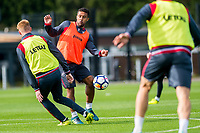 Wayne Routledge ( centre) in action during the Swansea City training session at The Fairwood training Ground, Swansea, Wales, UK. Wednesday 13 September 2017