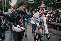 Chris Froome (GBR/SKY) after finishing 6th, 12sec behind his teammate/winner Geraint Thomas and well ahead of his GC competitors<br /> <br /> 104th Tour de France 2017<br /> Stage 1 (ITT) - Düsseldorf › Düsseldorf (14km)
