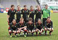 UEFA Women's Under 17 Championship - Second Qualifying round - group 1 : Switzerland - Belgium  : ..1 Nicky Evrard , 2 Karen Verrydt ; 3 Elien Van Wynendaele ; 4 Febe Nulens ; 5 Tinne Van Den Bergh ; 6 Valentine Hannecart ; 7 Lola Wajnblum ; 8 Sofie Huyghebaert ; 9 Lotte Aertsen ; 10 Shayna Raekelboom ; 11 Silke Leynen..foto DAVID CATRY / Vrouwenteam.be