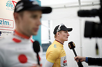 post race interviews for overall winner André Greipel (DEU/Lotto-Soudal) & polka dot jersey winner Rob Peeters (BEL/Vastgoedservice-Golden Palace)<br /> <br /> stage 5: Eindhoven - Boxtel (183km)<br /> 29th Ster ZLM Tour 2015