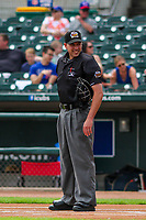 Home plate umpire Paul Clemons during a Pacific Coast League game between the Iowa Cubs and the Colorado Springs Sky Sox on June 23, 2018 at Principal Park in Des Moines, Iowa. Colorado Springs defeated Iowa 4-2. (Brad Krause/Four Seam Images)