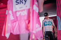 Overall winner Chris Froome (GBR/SKY) stepping onto the podium to receive the final Maglia Rosa<br /> <br /> stage 21: Roma - Roma (115km)<br /> 101th Giro d'Italia 2018