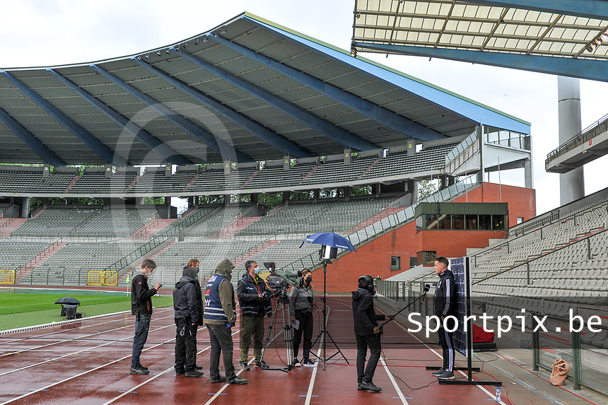 Head coach Jimmy Coenraets of OHL interviewed before a female soccer game before RSC Anderlecht Dames and Oud Heverlee Leuven on the seventh matchday of play off 1 of the 2020 - 2021 season of Belgian Womens Super League , saturday 15 th of May 2021  in Brussels , Belgium . PHOTO SPORTPIX.BE   SPP   STIJN AUDOOREN