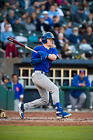 Midland RockHounds outfielder Greg Deichmann (18) connects on a pitch on May 4, 2019, at Arvest Ballpark in Springdale, Arkansas. (Jason Ivester/Four Seam Images)