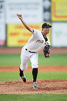 Bristol Pirates relief pitcher Jess Amedee (23) in action against the Johnson City Cardinals at Boyce Cox Field on July 7, 2015 in Bristol, Virginia.  The Cardinals defeated the Pirates 4-1 in game one of a double-header. (Brian Westerholt/Four Seam Images)