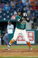Chris Torres (20) of the Greensboro Grasshoppers at bat against the West Virginia Power at First National Bank Field on August 9, 2018 in Greensboro, North Carolina. The Power defeated the Grasshoppers 9-7 in game two of a double-header. (Brian Westerholt/Four Seam Images)
