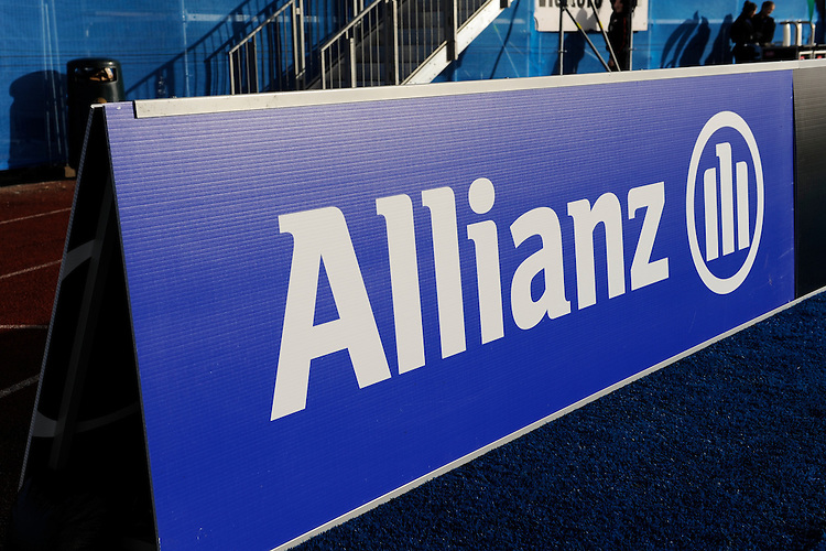 20130127 Copyright onEdition 2013©.Free for editorial use image, please credit: onEdition..General view of Allianz branding at Allianz Park during the LV= Cup match between Saracens and Cardiff Blues at Allianz Park on Sunday 27th January 2013 (Photo by Rob Munro)..For press contacts contact: Sam Feasey at brandRapport on M: +44 (0)7717 757114 E: SFeasey@brand-rapport.com..If you require a higher resolution image or you have any other onEdition photographic enquiries, please contact onEdition on 0845 900 2 900 or email info@onEdition.com.This image is copyright onEdition 2013©..This image has been supplied by onEdition and must be credited onEdition. The author is asserting his full Moral rights in relation to the publication of this image. Rights for onward transmission of any image or file is not granted or implied. Changing or deleting Copyright information is illegal as specified in the Copyright, Design and Patents Act 1988. If you are in any way unsure of your right to publish this image please contact onEdition on 0845 900 2 900 or email info@onEdition.com