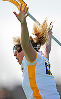 5 April 2008: University of Vermont Catamounts' Attackman Sarah DeStefano, a Junior from Eliot, ME, celebrates scoring the winning goal with less than two seconds remaining in regulation time against the University at Albany Great Danes at Moulton Winder Field, in Burlington, Vermont. The Catamounts rally defeated the visiting Danes 11-10 in America East conference play...Mandatory Photo Credit: Ed Wolfstein Photo