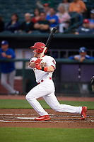 Memphis Redbirds left fielder Harrison Bader (3) at bat during a game against the Round Rock Express on April 28, 2017 at AutoZone Park in Memphis, Tennessee.  Memphis defeated Round Rock 9-1.  (Mike Janes/Four Seam Images)