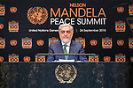 Opening Plenary Meeting of the Nelson Mandela Peace Summit<br /> <br /> His Excellency Abdullah ABDULLAHChief Executive of the Islamic Republic of Afghanistan