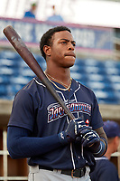 Jacksonville Jumbo Shrimp right fielder Monte Harrison (3) before a game against the Pensacola Blue Wahoos on August 15, 2018 at Blue Wahoos Stadium in Pensacola, Florida.  Jacksonville defeated Pensacola 9-2.  (Mike Janes/Four Seam Images)