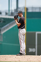 GCL Orioles relief pitcher Adam Stauffer (54) looks in for the sign during a game against the GCL Red Sox on August 9, 2018 at JetBlue Park in Fort Myers, Florida.  GCL Red Sox defeated GCL Orioles 10-4.  (Mike Janes/Four Seam Images)