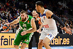 Real Madrid's player Gustavo Ayon and Unics Kazan's player Kostas Kaimakoglou during match of Turkish Airlines Euroleague at Barclaycard Center in Madrid. November 24, Spain. 2016. (ALTERPHOTOS/BorjaB.Hojas)