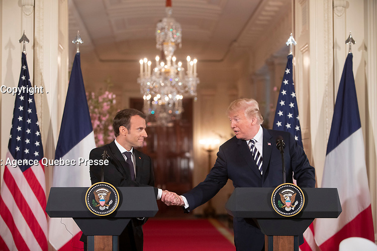 President Trump holds a joint press availability with the President of France (Official White House Photo by Joyce N. Boghosian)
