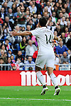 Real Madrid´s Chicharito celebrates a goal during 2014-15 La Liga match between Real Madrid and Eibar at Santiago Bernabeu stadium in Madrid, Spain. April 11, 2015. (ALTERPHOTOS/Luis Fernandez)