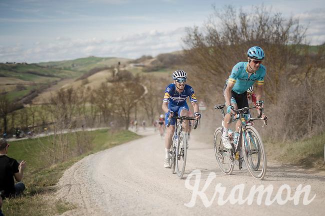 Jakob FUGLSANG (DEN/Astana) & Zdeněk ŠTYBAR (CZE/Deceuninck-Quick Step) on the white dust roads of Tuscany<br /> <br /> 13th Strade Bianche 2019 (1.UWT)<br /> One day race from Siena to Siena (184km)<br /> <br /> ©kramon