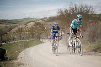 Jakob FUGLSANG (DEN/Astana) & Zdeněk ŠTYBAR (CZE/Deceuninck-Quick Step) on the white dust roads of Tuscany<br /> <br /> 13th Strade Bianche 2019 (1.UWT)<br /> One day race from Siena to Siena (184km)<br /> <br /> ©kramon