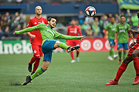 SEATTLE, WA - NOVEMBER 10: Seattle Sounders midfielder Victor Rodriguez #8 reaches for the ball during a game between Toronto FC and Seattle Sounders FC at CenturyLink Field on November 10, 2019 in Seattle, Washington.