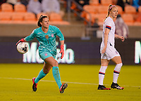 HOUSTON, TX - JANUARY 28: Alyssa Naeher #1 GK of the United States passes off the ball to a teammate during a game between Haiti and USWNT at BBVA Stadium on January 28, 2020 in Houston, Texas.