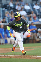 Nicholas Quintana (12) of the West team runs to first base during the 2015 Perfect Game All-American Classic at Petco Park on August 16, 2015 in San Diego, California. The East squad defeated the West, 3-1. (Larry Goren/Four Seam Images)