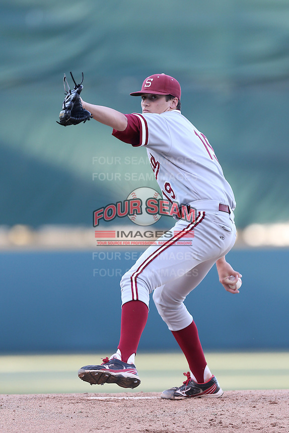 Cal Quantrill #19 of the Stanford Cardinal pitches against the UCLA Bruins at Jackie Robinson Stadium on May 2, 2014 in Los Angeles, California. UCLA defeated Stanford, 7-2. (Larry Goren/Four Seam Images)